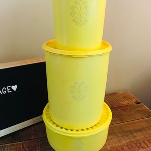 Vintage Yellow Tupperware Servalier Canisters ❤️